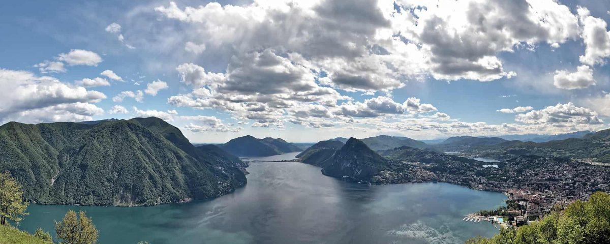Ansicht von oben Luganer See
